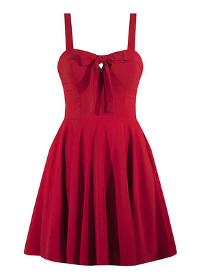 Sailor Girl Swing Dress with Pockets in Red