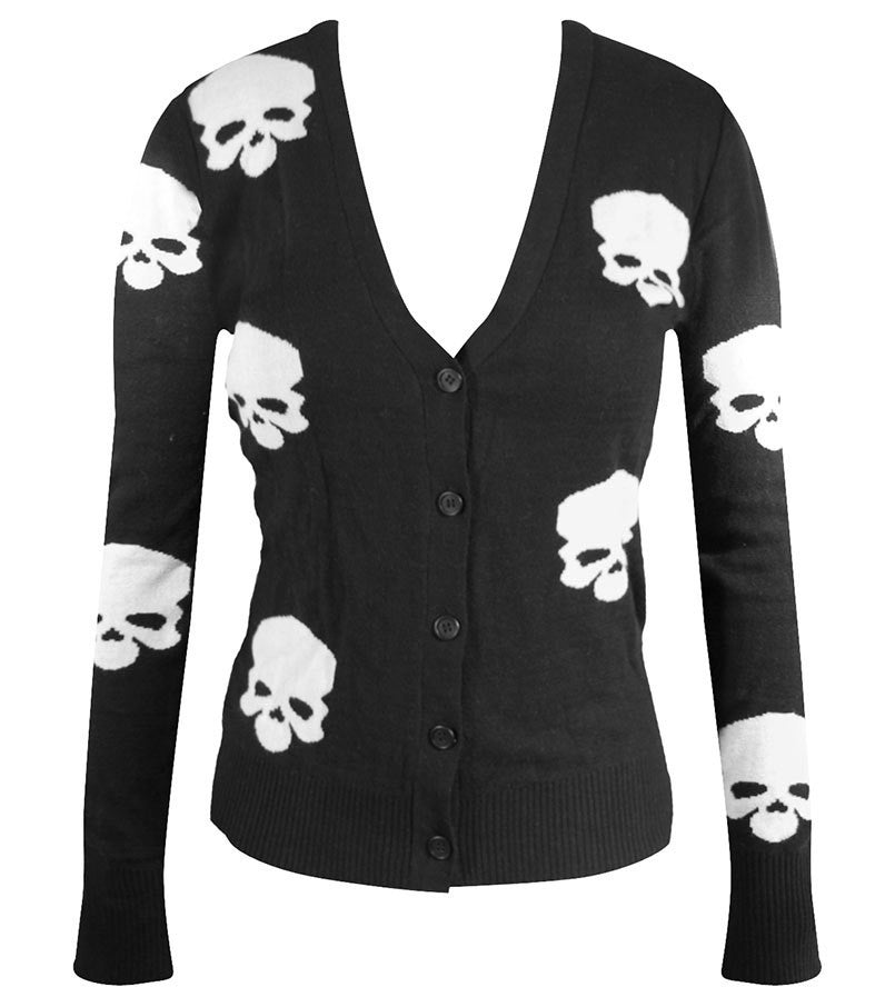 Miss Poison Skull Cardigan - Black