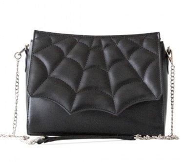 She's Wicked Spiderweb Crossbody Purse in Black