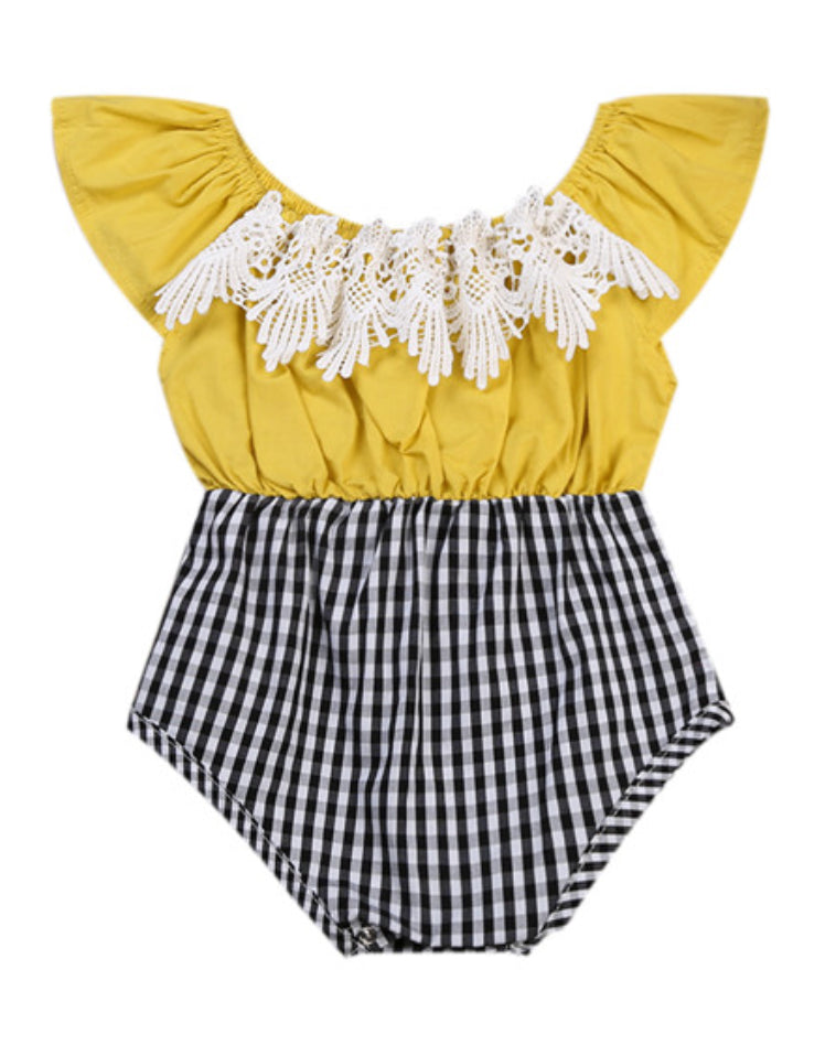 Gingham and Mustard Lace Baby Romper