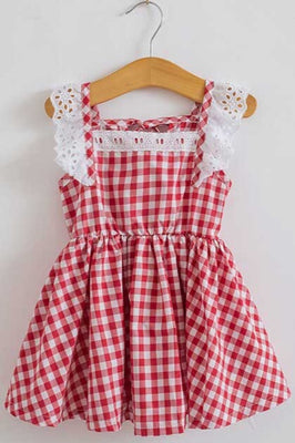 Red & White Gingham Swing Dress