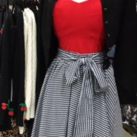 Black Gingham Swing Skirt with Stretch Waist