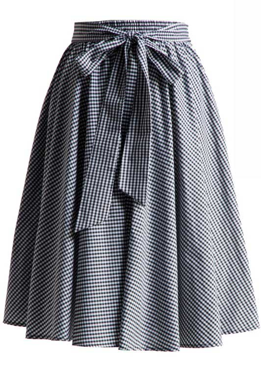 Gingham Swing Skirt with Stretch Waist in Black