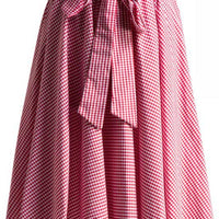 Gingham Swing Skirt with Stretch Waist in Red