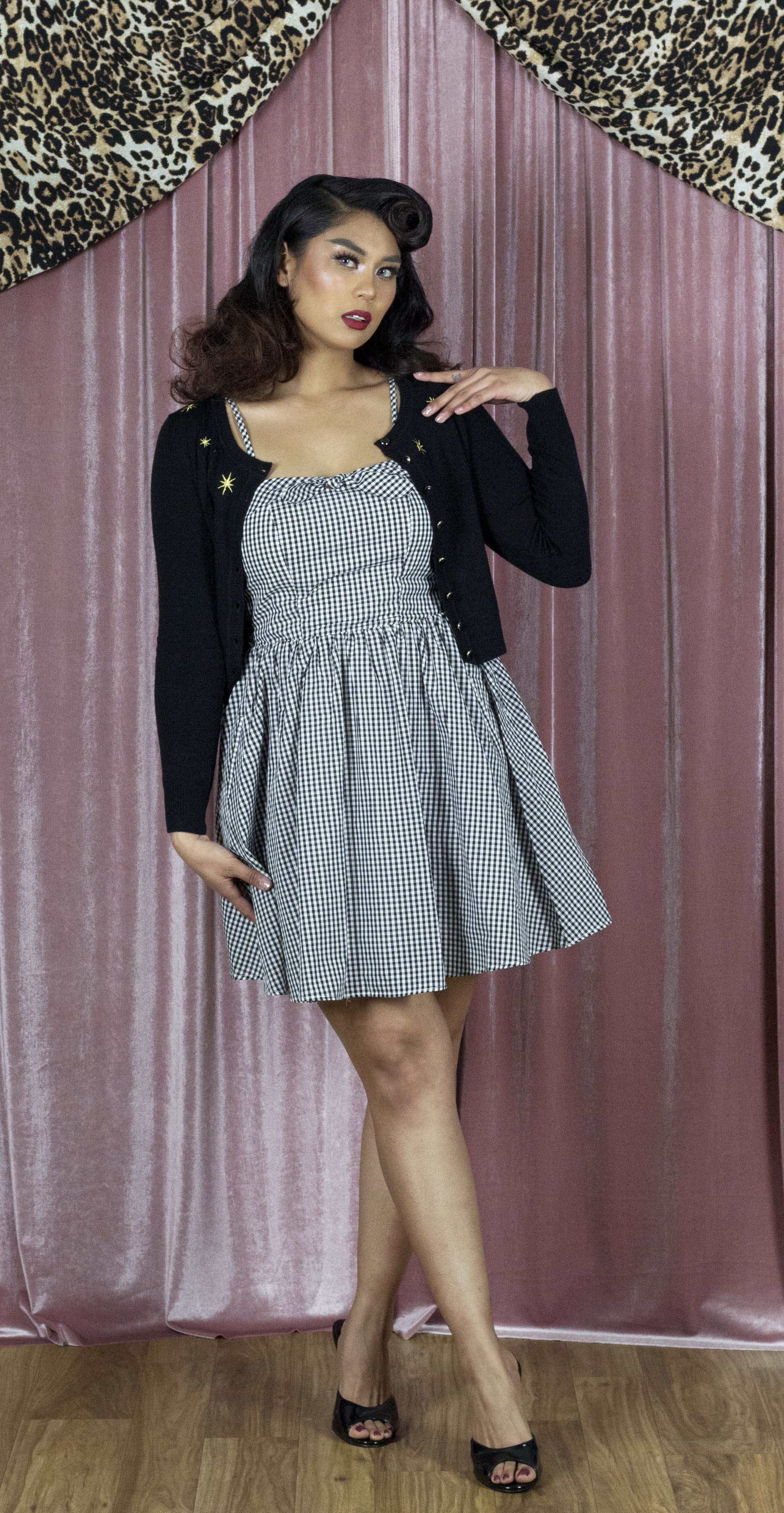 d19851949276 Retro Inspired Gingham Swing Dress in Black & White – Double Trouble ...