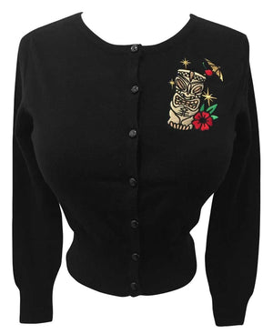 Golden Tiki Cardigan in Black - Cropped Style