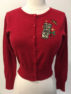 Golden Tiki Cardigan in Red - Cropped Style