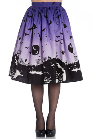 Halloween Haunt Skirt in Purple and Black