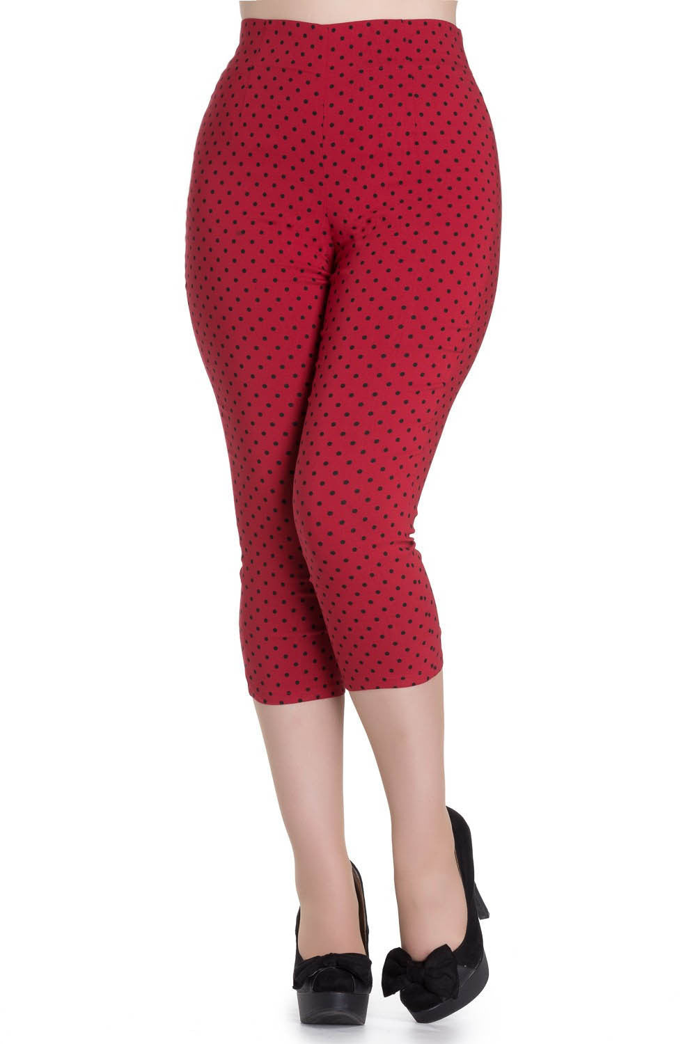 9e6684bc6e8 High Waist Retro Capris in Red   Black Polka Dot by Hell Bunny ...