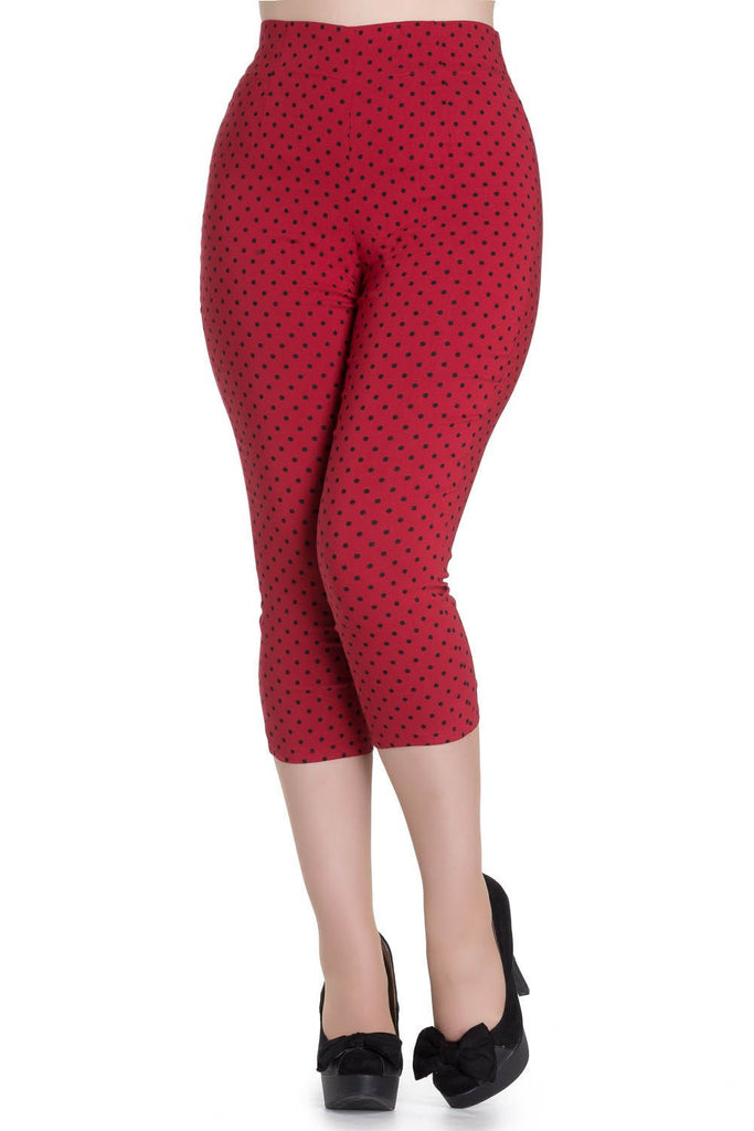 High Waist Retro Capris in Red & Black Polka Dot