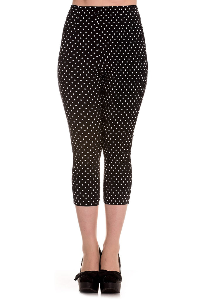 High Waist Retro Capris in Black & White Polka Dot