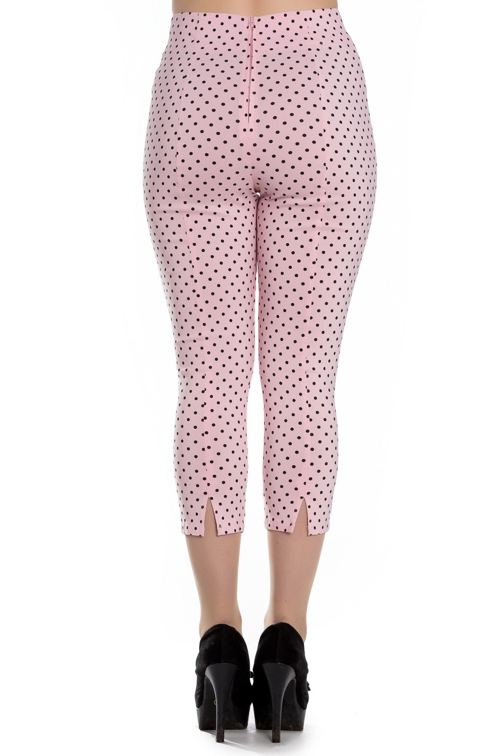 21fc213f058 High Waist Retro Capris in Pink   Black Polka Dot by Hell bunny ...