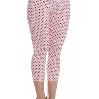 High Waist Retro Capris in Pink & Black Polka Dot