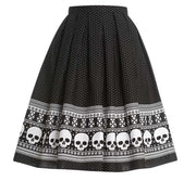 Skull Print Border Skirt in Black & White Polka Dots
