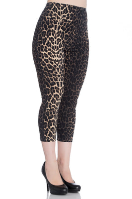High Waist Retro Panthera Capris in Leopard Print