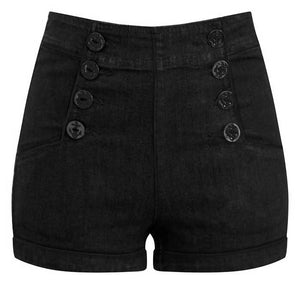 Black High Waist Sailor Girl Denim Shorts with Anchor Buttons