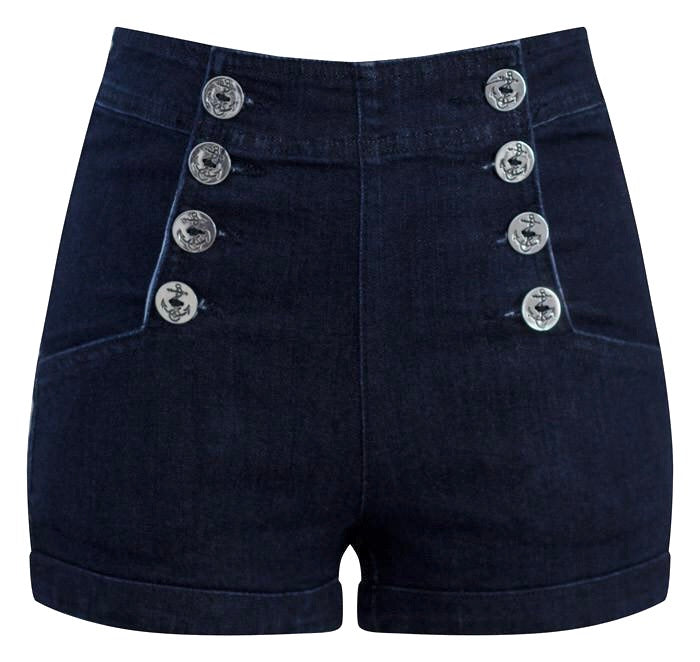 High Waist Sailor Girl Dark Denim Shorts with Anchor Buttons