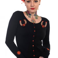 Black Lucky Horse Shoe Cardigan