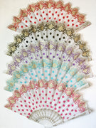 Vintage Inspired Lace Polka Dot Hand Fan with Scalloped Edge