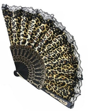 Leopard Vintage Inspired Satin & Lace Fan