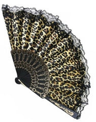 Vintage Inspired Satin & Lace Fan in Leopard