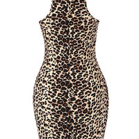 Leopard Print Fitted Pencil Dress