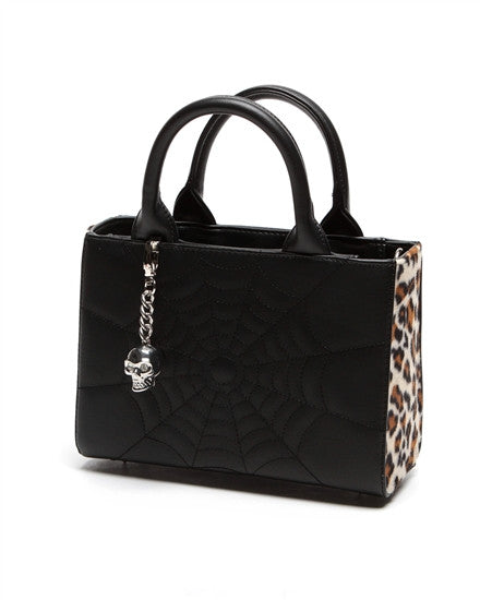 Lux De Ville Elvira Mini Lucky Me Tote in Black Matte Leopard