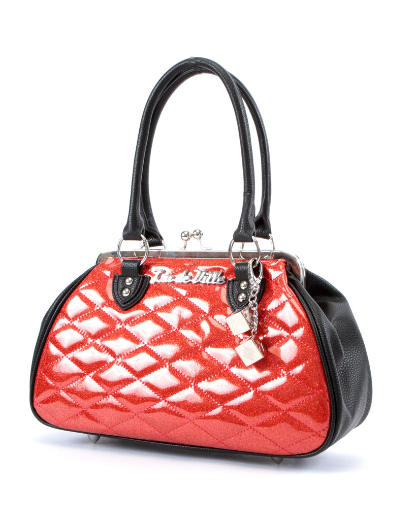 Sin City Kiss Lock in Matte Black & Red Sparkle by Lux De Ville