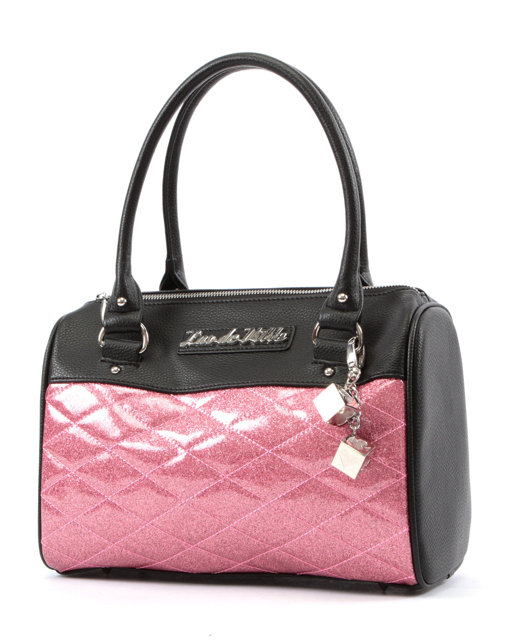 Mini Atomic Tote in Pink Sparkle and Black Matte by Lux De Ville