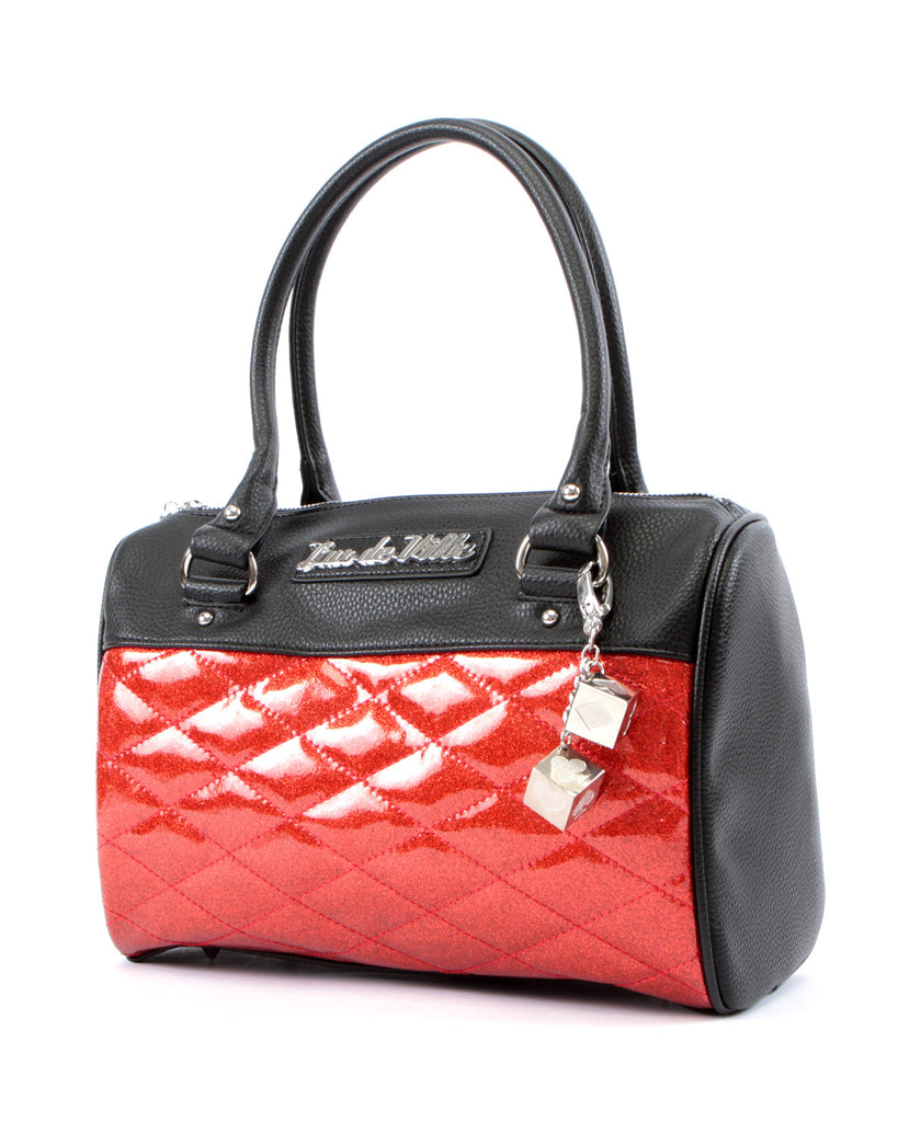 Mini Atomic Tote in Red Sparkle and Black Matte by Lux De Ville