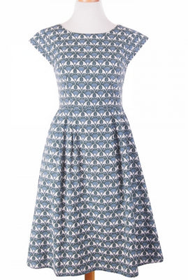 Devonshire Dress in Blue Fans by Mata Traders - FINAL SALE