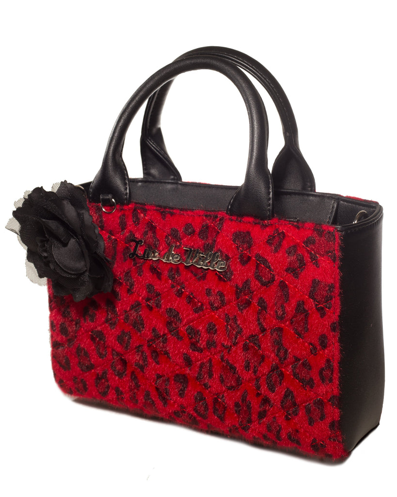 Mini Black Dahlia Tote in Red Leopard by Lux De Ville