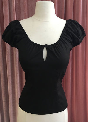 Peasant Style Pinup Top in Black