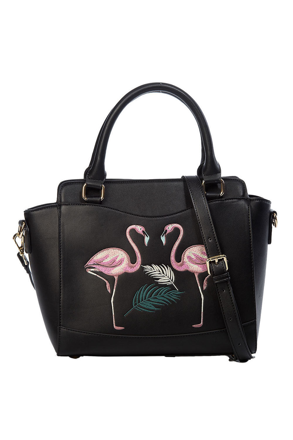 Pink Flamingo Embroidered Handbag in Black