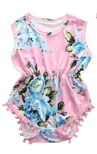 Pink Roses Baby Romper