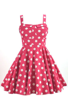 Retro Polka Dot Swing Dress in Pink