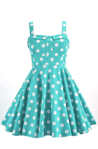 Retro Polka Dot Swing Dress in Mint
