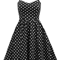 Retro Inspired Polka Dot Swing Dress with Pockets in Black & White