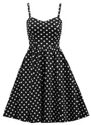 Polka Dot Retro Inspired Swing Dress with Pockets in Black & White