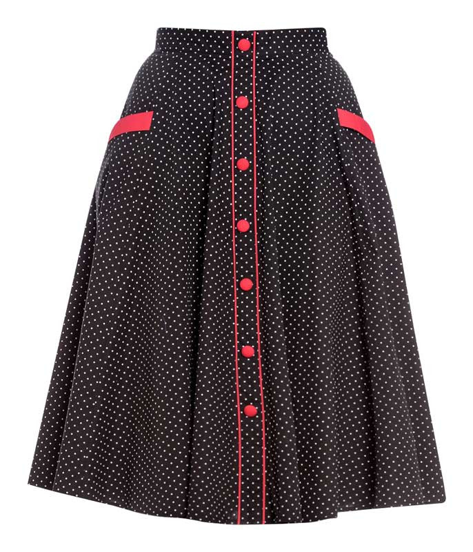 Retro 50's Polka Dot Swing Skirt in Black & White