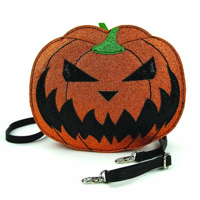 Pumpkin Two Faced Jack O Lantern Crossbody Bag