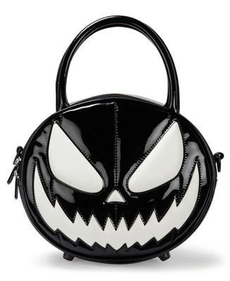 Hell-O-Ween Pumpkin Handbag in Black Patent