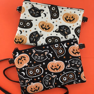Trick or Treat Pumpkins & Cats Crossbody Pouch Bag