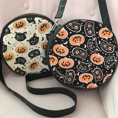 Trick or Treat Pumpkins & Cats Crossbody Circle Bag