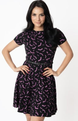 Black & Purple Batty For You Swing Dress