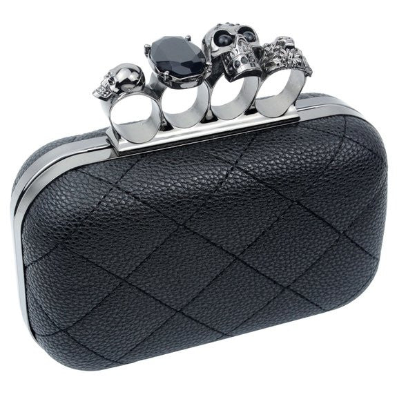 Quilted Skull Knuckle Clutch with Chain Strap