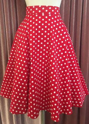 Retro Gal Polka Dot Swing Skirt in Red