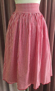 Red Gingham Swing Skirt with Pockets