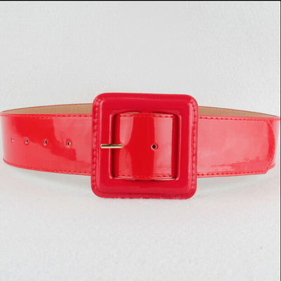 Patent Vinyl Belt in Red
