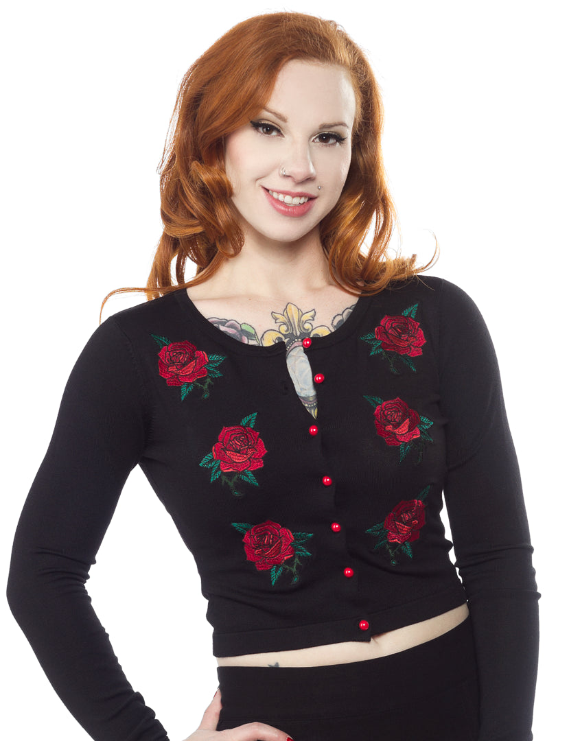 Red Roses Embroidered Cardigan By Sourpuss Double Trouble Apparel